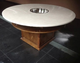 全石材白玉火锅桌